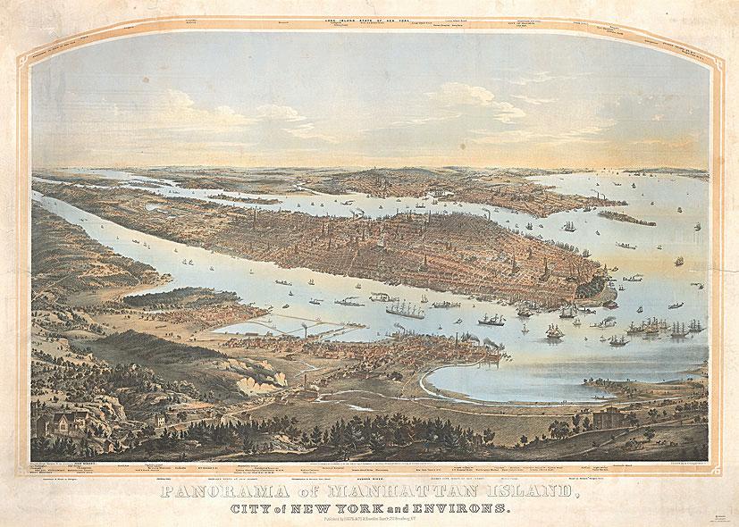 New Yorkin panoraamakartta vuodelta 1854