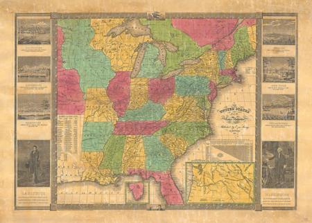 Amerikan Yhdysvaltojen harvinainen kartta vuodelta 1836